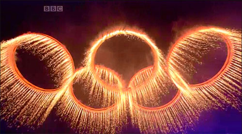 The forged Olympic Rings rise above the Stadium