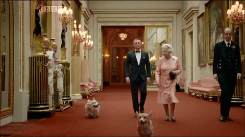 The Queen, her Corgis and James Bond on their way to the Olympic Stadium