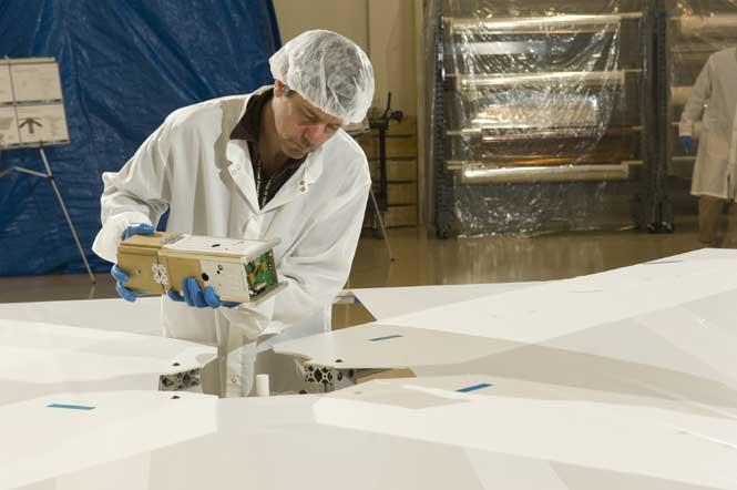 NanoSail-D satellite during deployment testing. (NASA/MSFC)