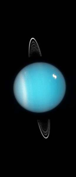 Image of Uranus obtained in 2005 by ACS on HST. Rings, southern collar and a bright cloud in the northern hemisphere are visible. The image was downloaded from [1] (NASA, ESA, and M. Showalter (SETI Institute)