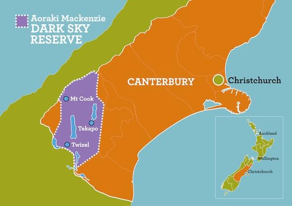 Map of Aoraki Mackenzie International Dark Sky Reserve