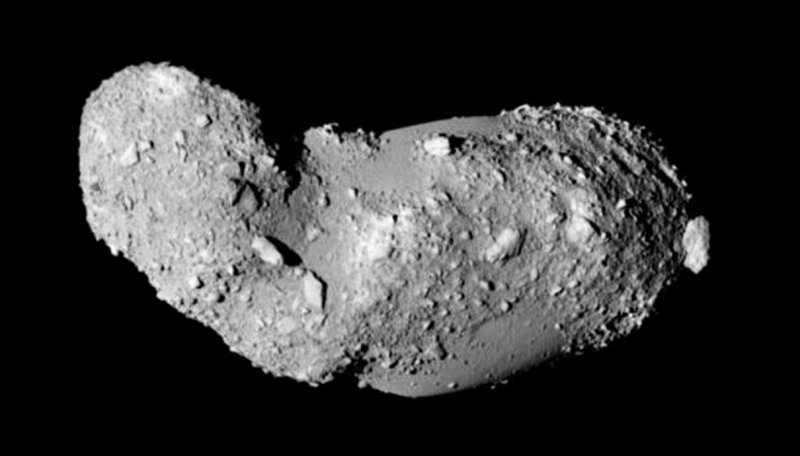 This very detailed view shows the strange peanut-shaped asteroid Itokawa. This picture comes from the Japanese spacecraft Hayabusa during its close approach in 2005. Credit: JAXA
