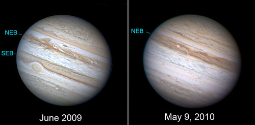Jupiter, before and after losing one of its belts