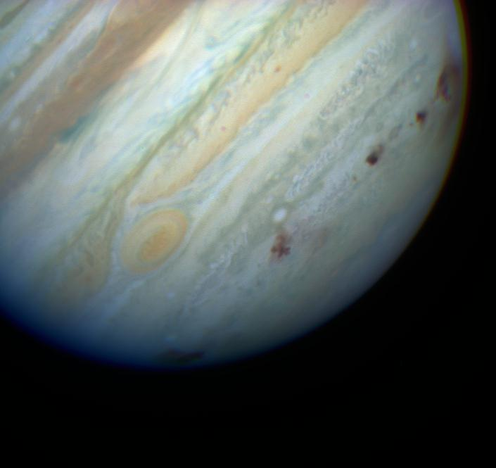 Jupiter, scarred by impact with comet Shoemaker-Levy 9