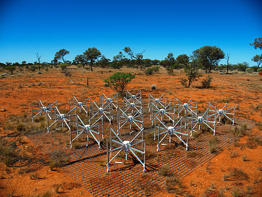 One of the tiles making up the 32T, a prototype instrument for the Murchison  Widefield Array.  Image Credit: Natasha Hurley-Walker