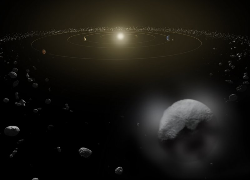 Dwarf planet Ceres is located in the main asteroid belt, between the orbits of Mars and Jupiter, as illustrated in this artist's conception. Observations by the Herschel space observatory between 2011 and 2013 find that the dwarf planet has a thin water vapor atmosphere. This is the first unambiguous detection of water vapor around an object in the asteroid belt.  Image Credit: ESA/ATG medialab