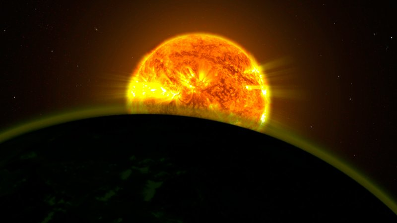 Faint Signatures of Water in Exoplanet's Atmosphere (Artist's Illustration). Credit: NASA, ESA, A. Mandell (Goddard Space Flight Center), and D. Deming (University of Maryland, College Park)