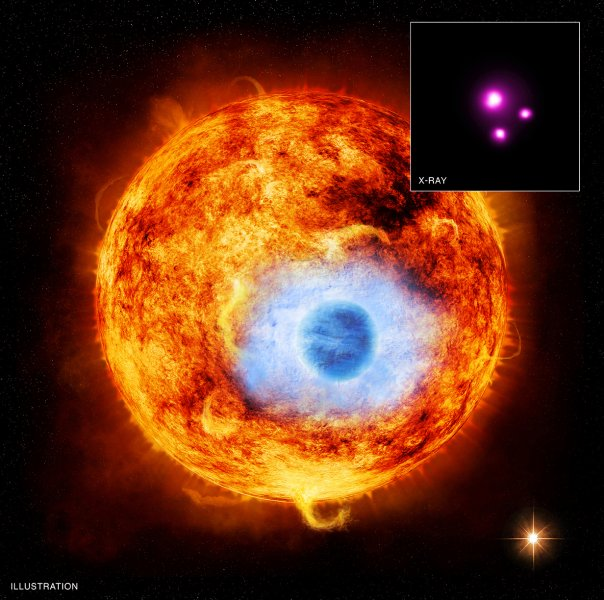 This illustrationdepicts HD 189733b, the first exoplanet caught passing in front of its parent star in X-rays.