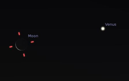 Illustration of Moon and Venus on 22 March 2014