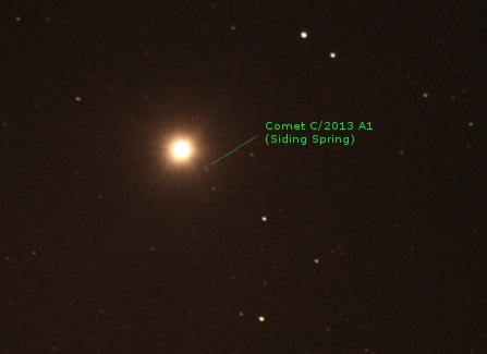 Comet C/2013 A1 (Siding Spring) and Mars, at 18h11 UTC, 19 October 2014. Image Credit: Allen Versfeld