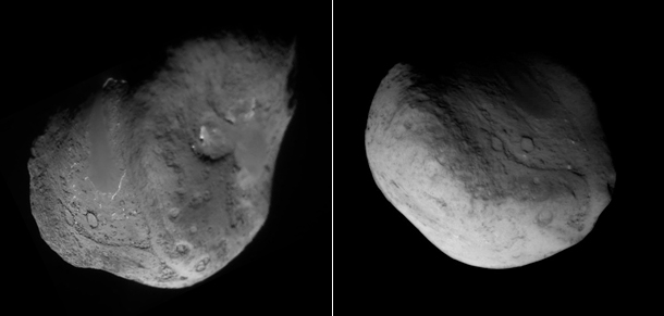 Images of comet Tempel 1, from Deep Impact and Stardust-Next.  Image credit: NASA/JPL-Caltech/Cornell; NASA/JPL-Caltech/UMD
