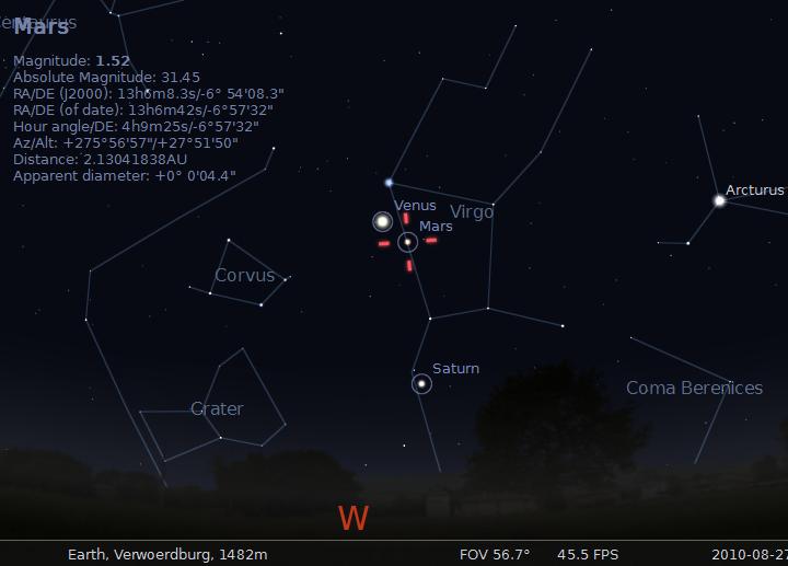 Venus, Mars, Saturn and Mercury on 17 August 2010 -- generated by Stellarium 10.5