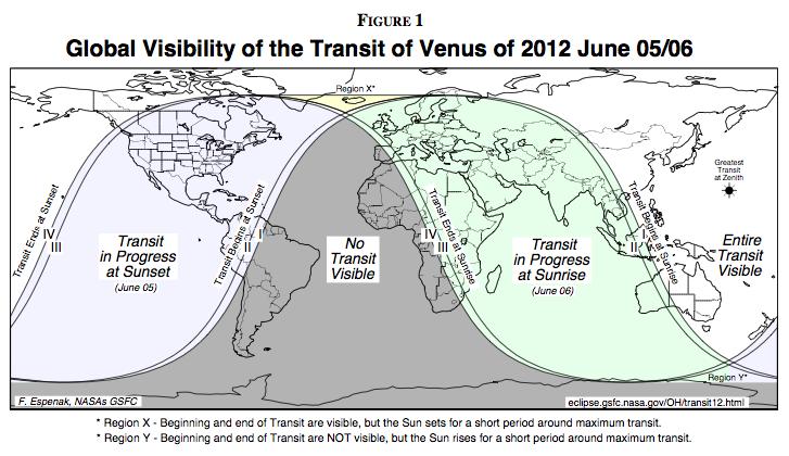Transit of Venus 2012 visibility map