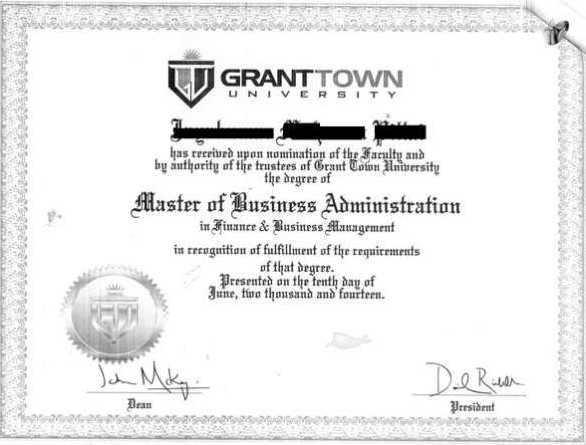 Le genre de faux diplôme proposé par Axact.