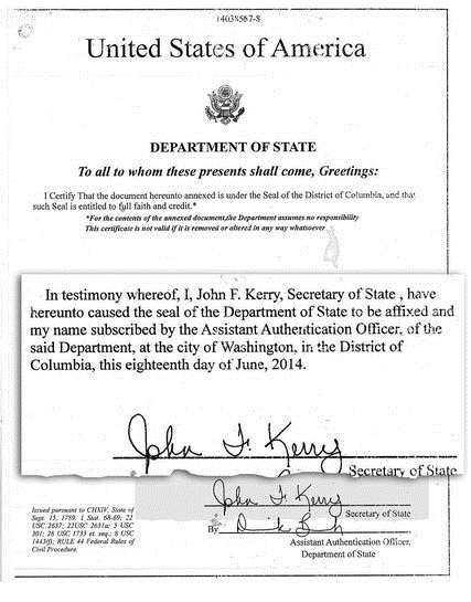 La fausse certification signée par John kerry