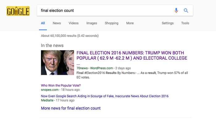 """Un site de fausses nouvelles qui est apparu dans la boite """"Dans l'actualité"""" de Google"""