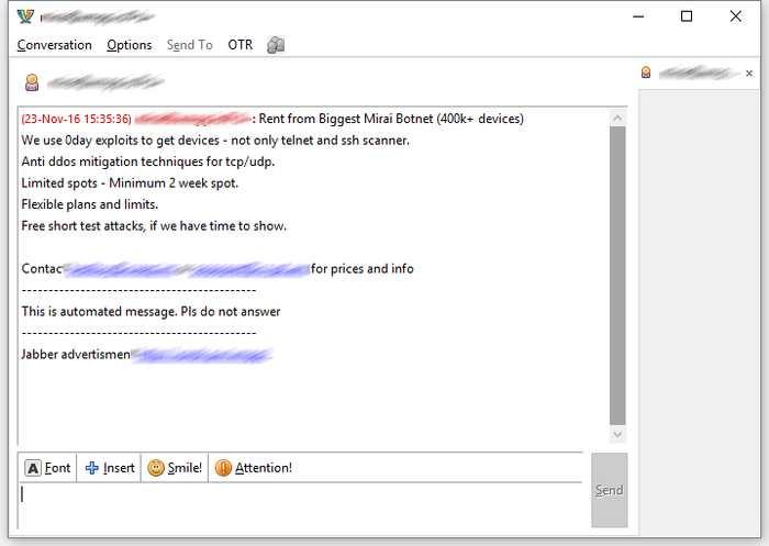 Une annonce de location du botnet Mirai qui circule sur les messageries