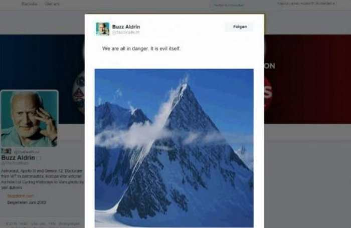 "Le ""prétendu"" Tweet de Buzz Aldrin sur la pyramide en Antarctique."