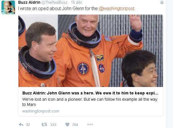 Un vrai Tweet de Buzz Aldrin
