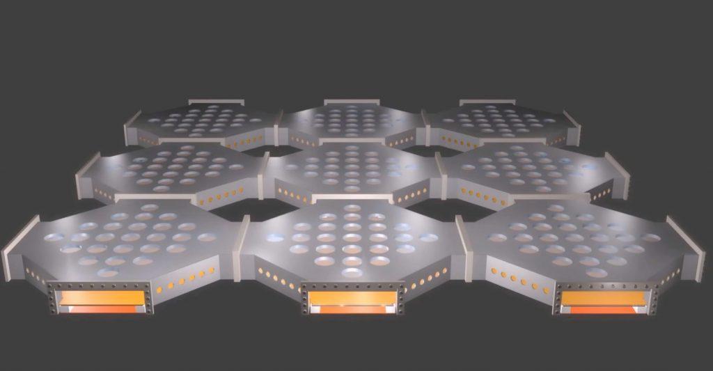 Une illustration montrant un ordinateur quantique à grande échelle qui utilisent des ions piégés - Crédit: Ion Quantum Technology Group, University of Sussex