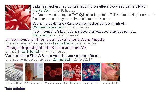 Le site 20minutes rapporte que le CNRS a coupé les financements de la recherche sur un vaccin connu comme le TAT-OYI, développé par Erwann Loret et son équipe. Le problème est que l'article est complotiste à mort et que d'autres sources estiment que ce vaccin sent le moisi sur son efficacité réelle.