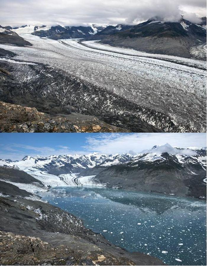 Cette image Avant/Après montre la retraite du glacier Columbia en Alaska. Il a reculé de 6,5 km de 2009 à 2015 - Crédit : James Balog et l'Extreme Ice Survey.