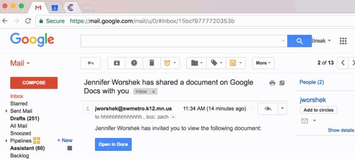 On rapporte la découverte d'une attaque de Phishing via Google Docs. Si on ne fait pas attention quand on reçoit des documents, on risque de le payer cher.