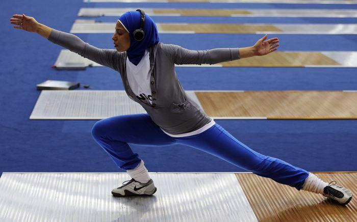 Eman Gaber, une athlète égyptienne, qui porte le Hijab, pendant les Jeux olympiques de 2012 - Crédit : Kim Kyung Hoon/Reuters