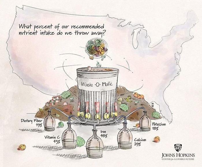 Le gaspillage alimentaire contient une quantité considérable de nutriments qui pourrait aider les Américains à satisfaire leurs Apports journaliers recommandés.