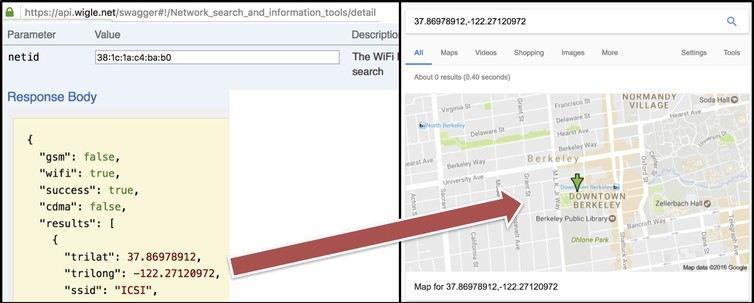 Le service Wigle permet de connaitre une adresse physique à partir de l'adresse MAC - Crédit : ICSI, CC BY-ND