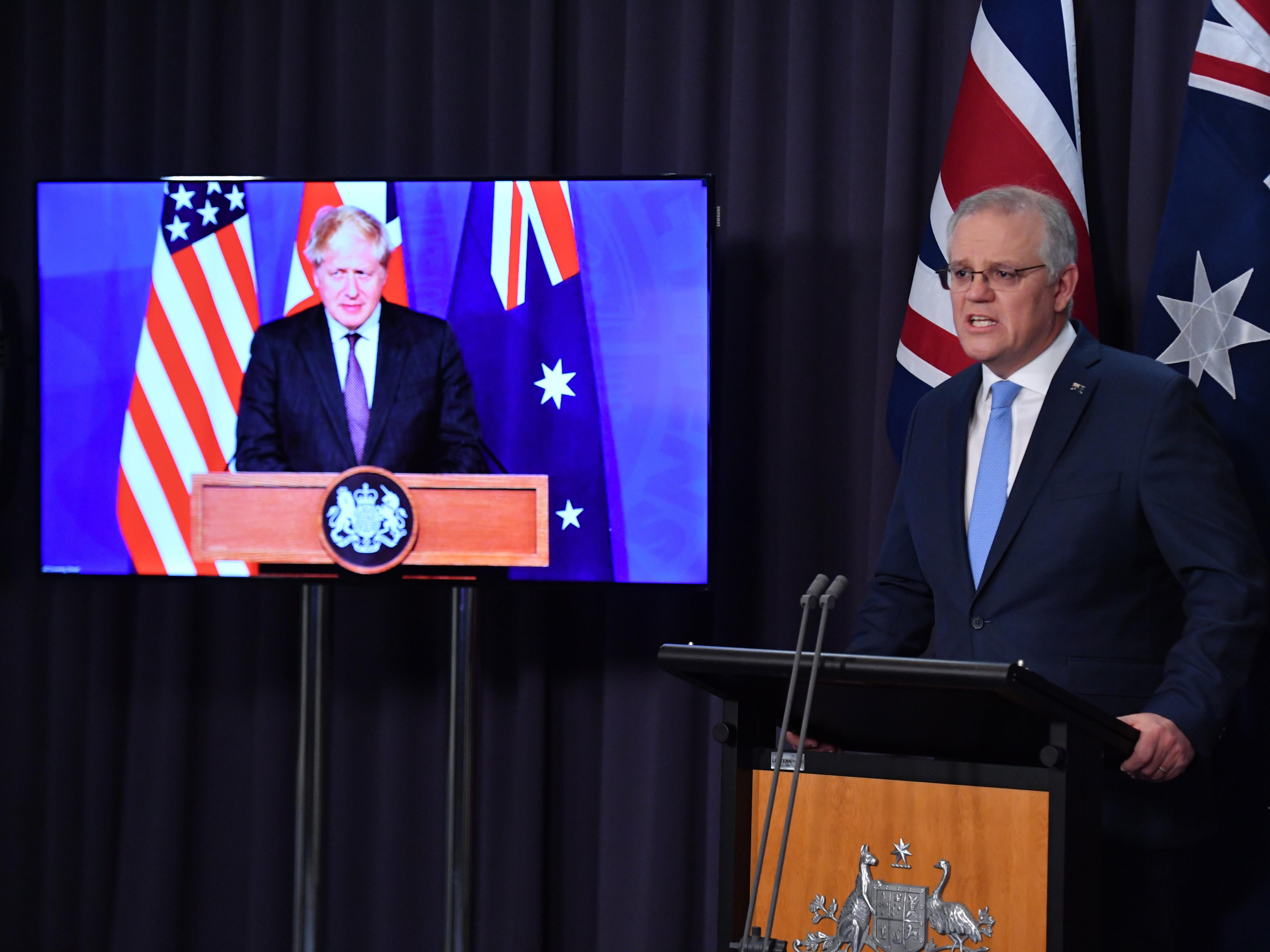 <p>Australian prime minister Scott Morrison announced the new AUKUS alliance (Australië, UK and US) with Boris Johnson earlier this week<blp>