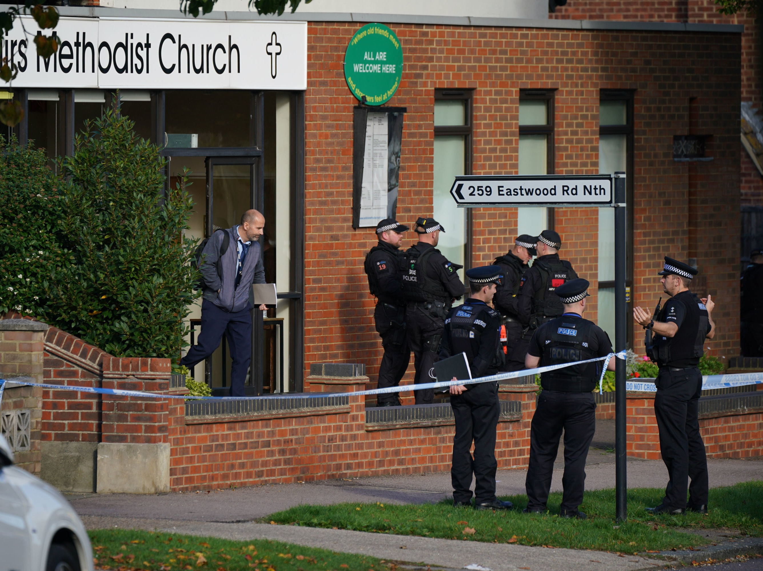 <p>Police officers outside Belfairs Methodist Church in Leigh-on-Sea</p>