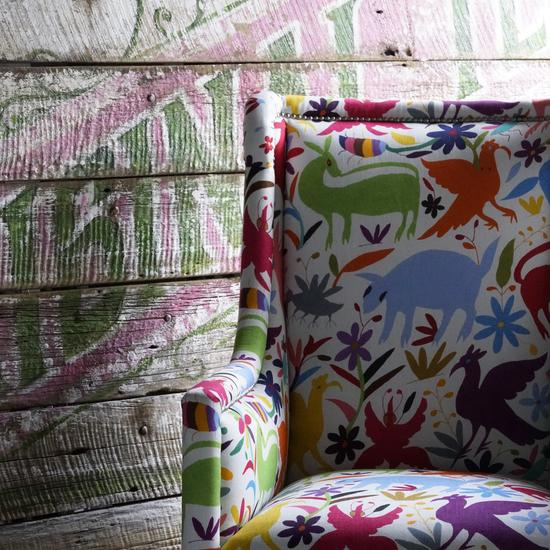 Venus_chair_upholstered_inTiki_Tiki_Carnival_fabric