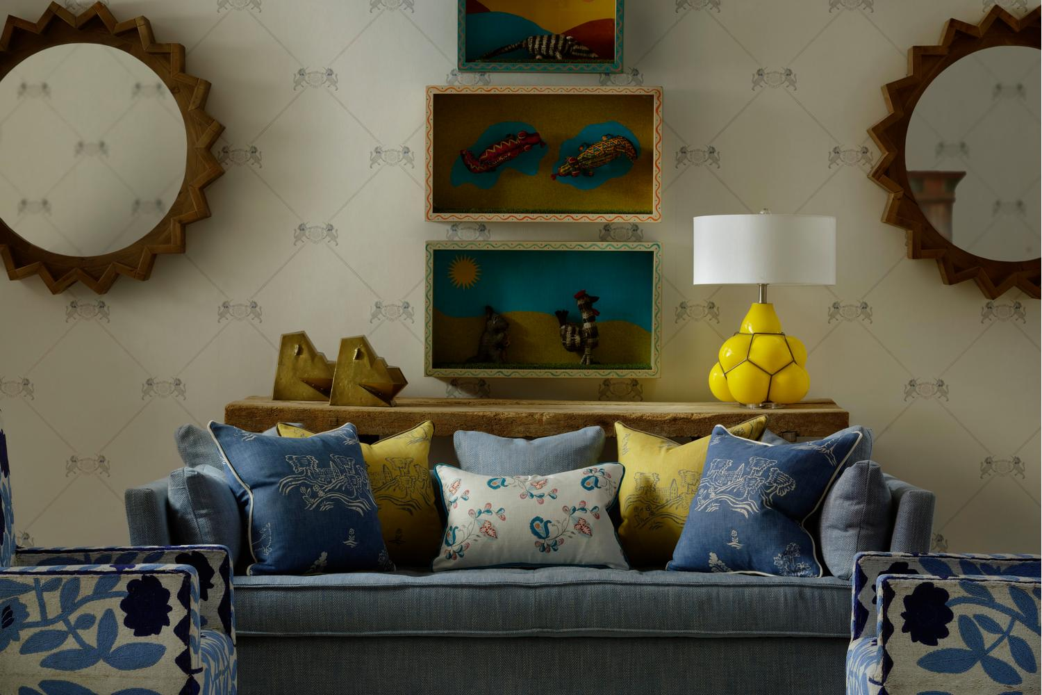 Unicorn Grey Wallpaper with Bloomsbury Sofa in Summit Beach and Psycho Sprig Tropical Blue and Friendly Folk Happy Blue and Provencal Yellow scatter cushions