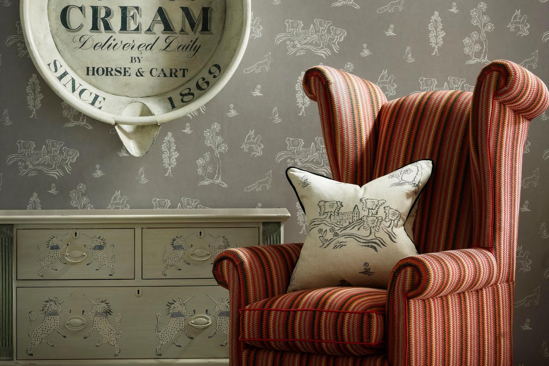 Winston Chair in Cuchillas Multi Fabric with cushion in Friendly Folk Dusk Fabric and Wychwood Dusk Wallpaper