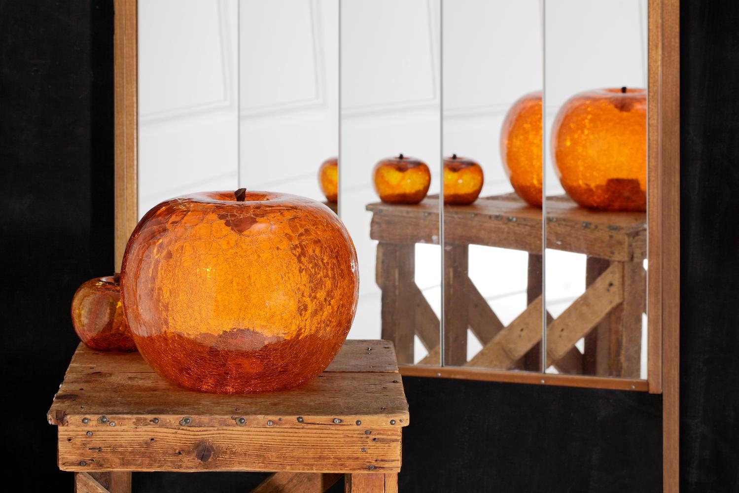 Amber Crackled apple sculpture