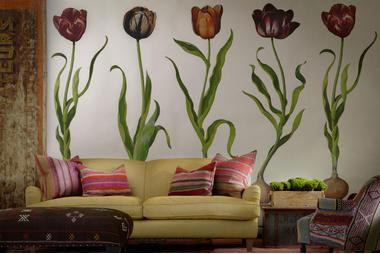 TulipsWallpaper_AndeanCushions_ClaraCustomSofain_NevadaEagle_VictoriaCustomChairAndean