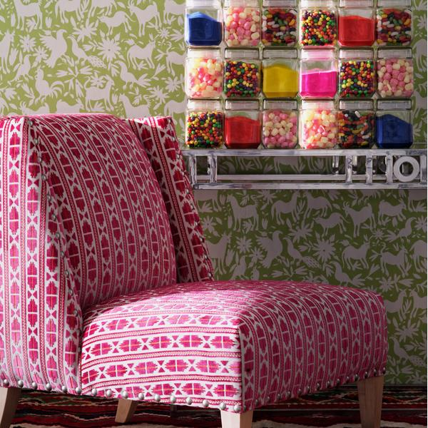 Triton_chair_upholstered_in_Pelican_Paraiso_with_Otomi_Cactus_wallpaper
