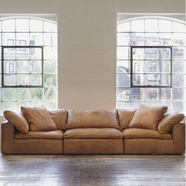 Truman Large Sectional Sofa in Tan Leather - Andrew Martin