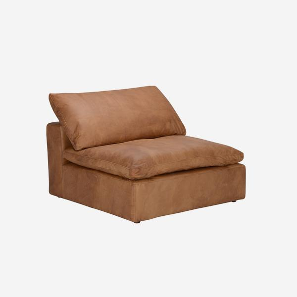 Truman_Armless_Section_Tan_Leather_angle_