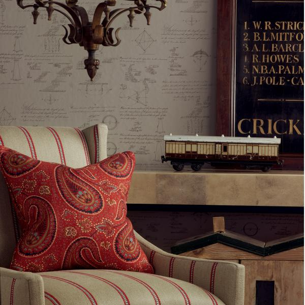 Pythagoras_Taupe_Wallpaper_Milton_Chairs_in_Creel_Rust_with_Cushions_in_Fenton_Red_Lifestyle_Close_Up_