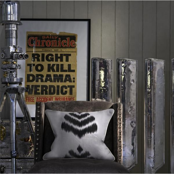Cushion_in_Merchant_Charcoal_Fabric_Cabin_Cloud_Wallpaper_Triton_in_Ovington_Grey