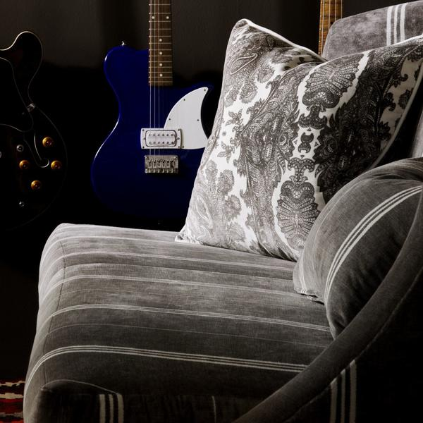 Sofa_upholstered_in_Elgin_White_Stripe_with_scatter_cushion_in_Bohemia_Grey