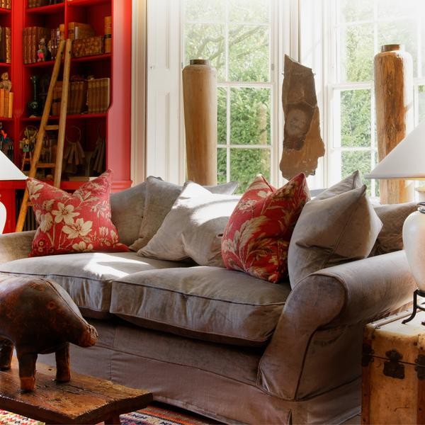 Egerton_Sofa_in_Ovington_Grey_with_cushions_in_Botanist_Red