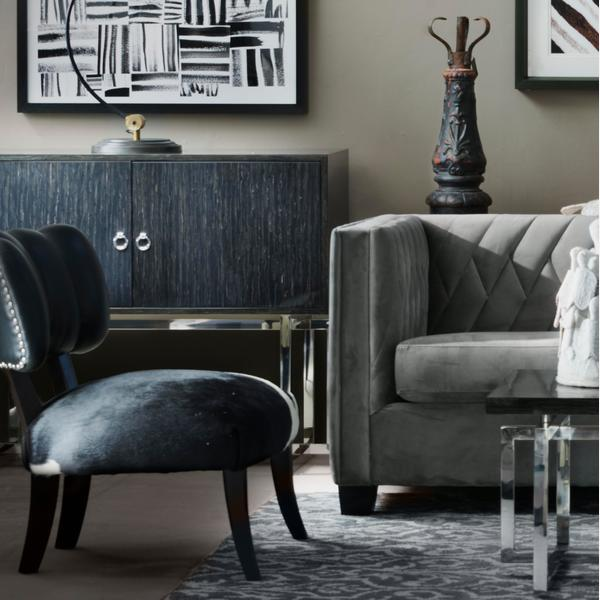 Renee_Large_Sofa_with_Barbarella_Smoke_Cushion_Alistaire_Coffee_Table_Todd_Chairs_Brooke_Cabinets_Smythson_Desk_Lights_I_ve_Got_Your_Back_artwork_with_Brush_Up_1_and_Brush_Up_2