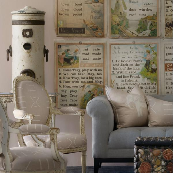 Kongo_Plaster_Fabric_upholstered_on_antique_chairs_with_Jumbo_Plaster_Cushion_and_Kongo_Plaster_Cushion_on_Fiorella_2_seater_Sofa