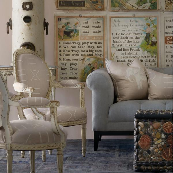 Kongo_Plaster_Fabric_upholstered_on_antique_chairs_with_Jumbo_Plaster_Cushion_and_Kongo_Plaster_Cushion_on_Fiorella_2_seater_Sofa