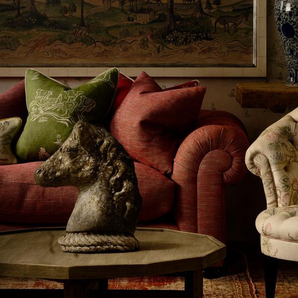 Friendly Folk Basil Green and Huntsman Red Cushions Lifestyle