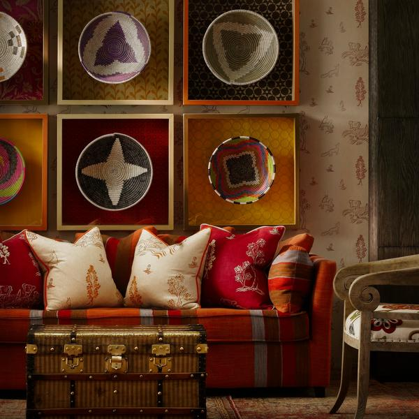 Friendly Folk Melon Orange and Huntsman Red Cushions Lifestyle