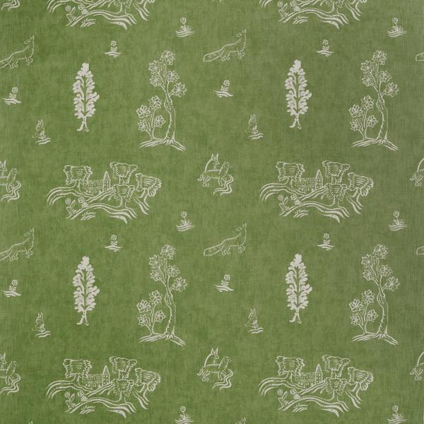 Friendly Folk Basil Green Fabric | Kit Kemp Collection - Andrew Martin